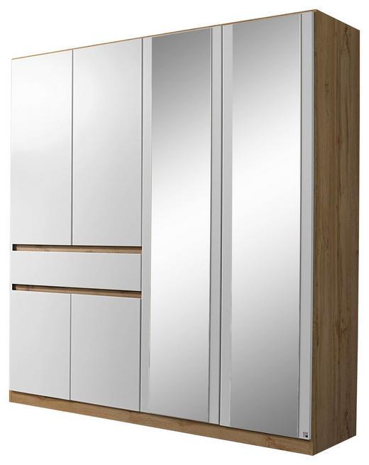 KLEIDERSCHRANK 6-türig Eichefarben, Weiß - Eichefarben/Weiß, Design, Glas/Holzwerkstoff (181/197/54cm) - Carryhome