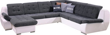 SEDEŽNA GARNITURA,  siva, bela tekstil - siva/bela, Design, umetna masa/tekstil (160/326/260cm) - Xora