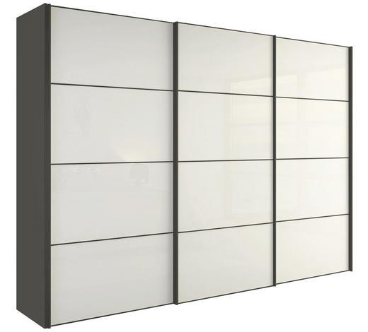 SCHIEBETÜRENSCHRANK in Grau, Weiß  - Weiß/Grau, Design, Holzwerkstoff (242/229,6/67,7cm) - Hülsta