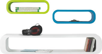 REGÁL NÁSTĚNNÝ - bílá/modrá, Design, dřevěný materiál - CARRYHOME