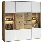 HIGHBOARD Kerneiche vollmassiv Weiß, Eichefarben  - Eichefarben/Silberfarben, Design, Glas/Holz (137/138/39cm) - Valnatura