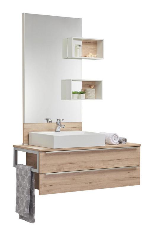 BADEZIMMER - Eichefarben/Weiß, Design, Keramik/Holzwerkstoff (120cm) - Celina