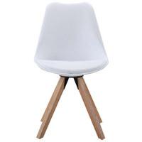 STUHL Lederlook Eiche massiv Eichefarben, Weiß - Eichefarben/Weiß, Design, Holz/Kunststoff (48/82/56cm) - CARRYHOME
