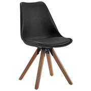 STUHL Lederlook Eiche massiv Eichefarben, Schwarz - Eichefarben/Schwarz, Design, Holz/Kunststoff (48/82/56cm) - CARRYHOME