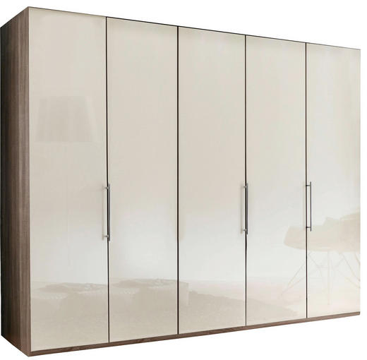 FALTTÜRENSCHRANK 5-türig Creme, Trüffeleichefarben - Trüffeleichefarben/Creme, KONVENTIONELL, Glas/Holzwerkstoff (250/216/58cm) - Venda