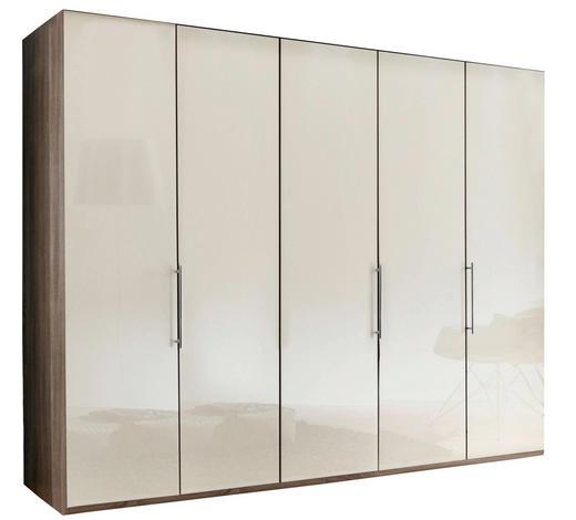 FALTTÜRENSCHRANK in Creme, Trüffeleichefarben - Trüffeleichefarben/Creme, KONVENTIONELL, Glas/Holzwerkstoff (250/216/58cm) - Venda