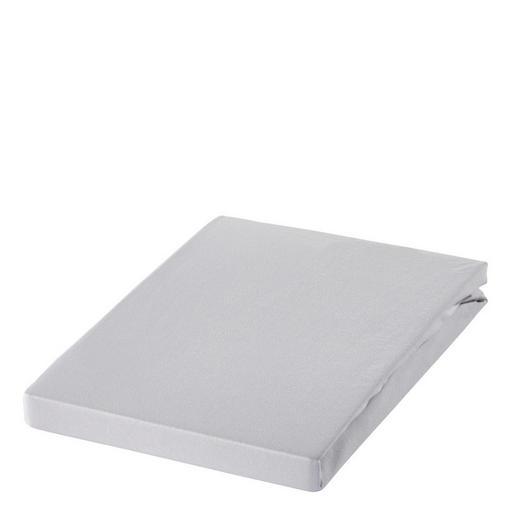 SPANNBETTTUCH Zwirn-Jersey Hellgrau, Silberfarben bügelfrei, für Wasserbetten geeignet - Silberfarben/Hellgrau, Basics, Textil (200/200cm) - ESTELLA