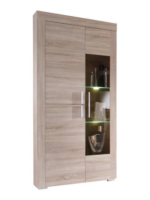 VITRINE Eichefarben - Eichefarben/Alufarben, Design, Glas/Holzwerkstoff (89/212/34cm) - Carryhome
