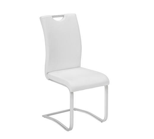 SCHWINGSTUHL in Metall, Textil Weiß, Chromfarben - Chromfarben/Weiß, Design, Textil/Metall (42/102/55cm) - Carryhome