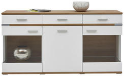 SIDEBOARD Weiß, Eichefarben  - Eichefarben/Silberfarben, Design, Glas/Holzwerkstoff (180,1/93,1/41,2cm) - Hom`in