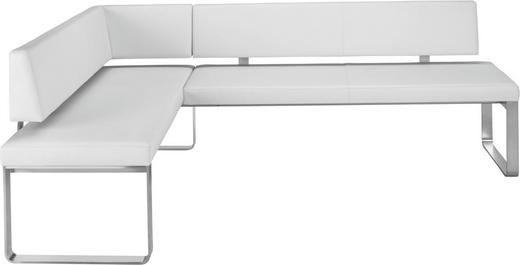ECKBANK Echtleder Weiß - Edelstahlfarben/Weiß, Design, Leder/Metall (160/234/83cm) - Venjakob