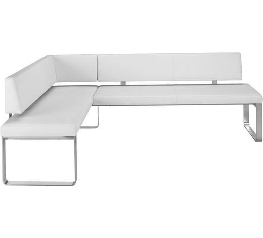 ECKBANK Echtleder Weiß  - Edelstahlfarben/Weiß, Design, Leder/Metall (234/160cm) - Venjakob