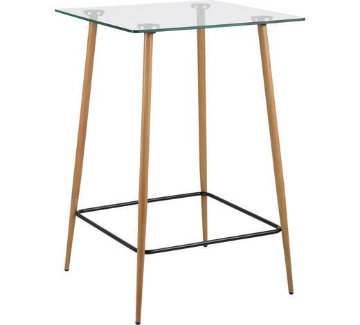 BARTISCH in Metall, Glas 70/70/105 cm - Eichefarben/Schwarz, Design, Glas/Holz (70/70/105cm) - Carryhome