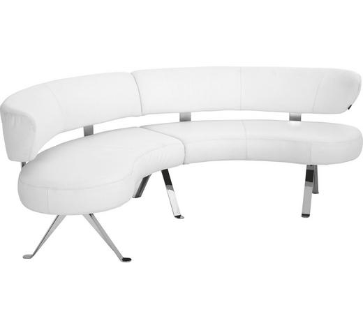RUNDBANK in Leder Weiß  - Alufarben/Weiß, Design, Leder/Metall (234cm) - Joop!
