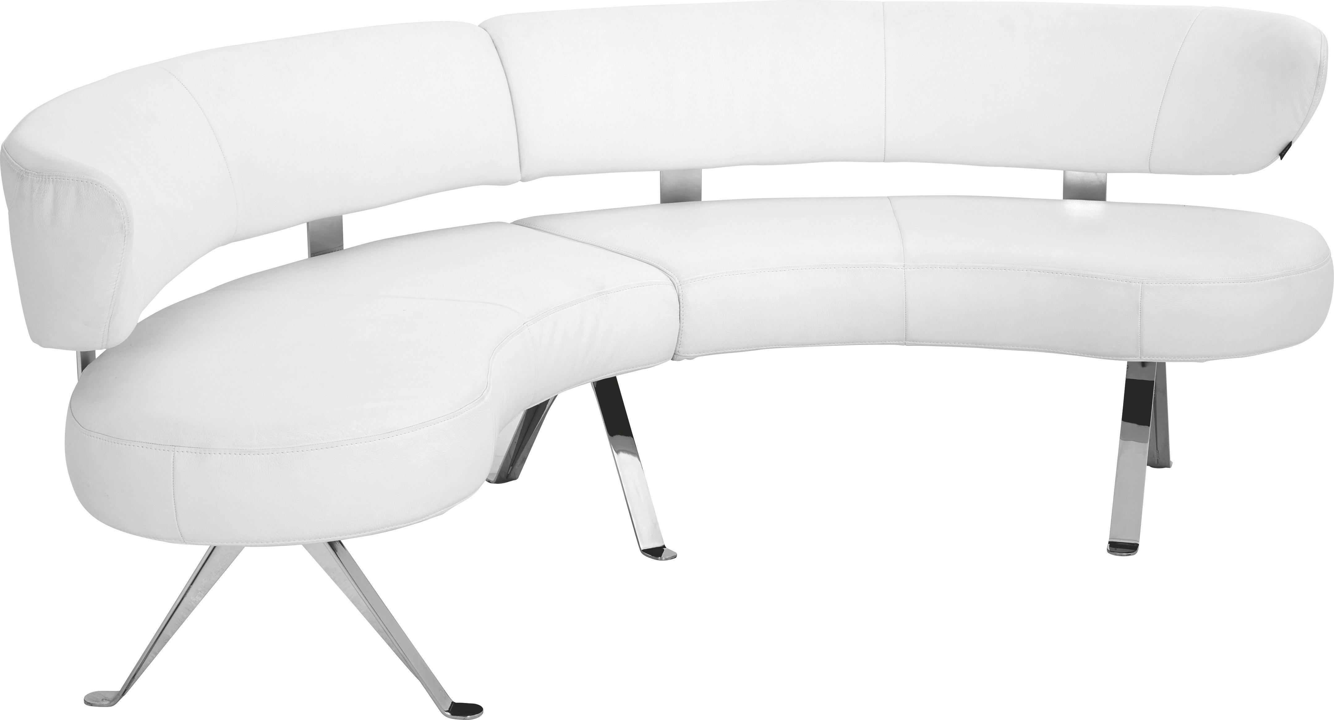 Elegant RUNDBANK Echtleder Weiß   Alufarben/Weiß, Design, Leder/Metall (234cm)