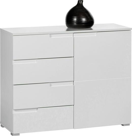 KOMMODE Weiß - Silberfarben/Weiß, Design, Holzwerkstoff/Kunststoff (100/80/40cm)