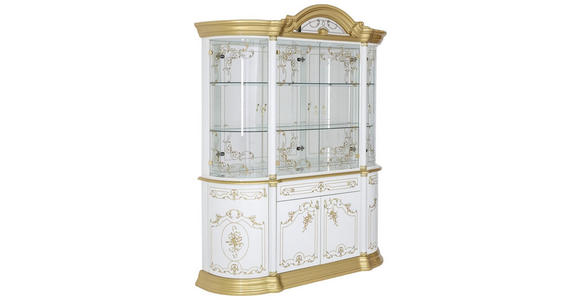 VITRINE in Goldfarben, Weiß - Goldfarben/Weiß, LIFESTYLE, Glas/Holzwerkstoff (189/228/56cm) - Cantus
