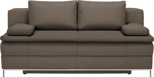 BOXSPRINGSOFA in Textil Braun - Chromfarben/Braun, Design, Textil/Metall (200/93/107cm) - Novel