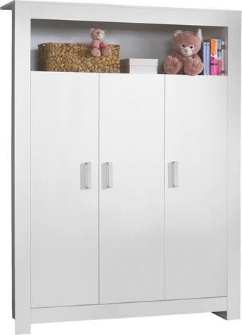 BABYKLEIDERSCHRANK Lilli Weiß - Silberfarben/Weiß, Basics, Holzwerkstoff/Kunststoff (132/185/54cm) - My Baby Lou