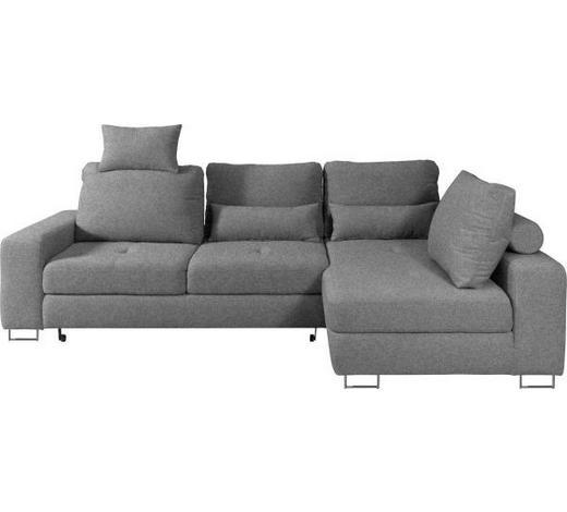 WOHNLANDSCHAFT in Textil Braun, Grau  - Braun/Grau, Design, Textil/Metall (260/188cm) - Hom`in