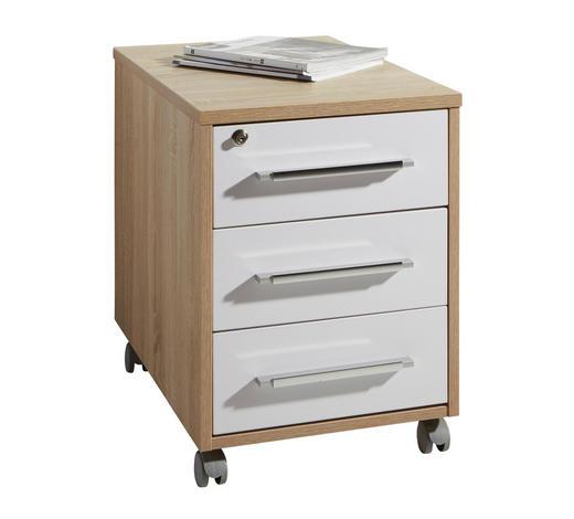 ROLLCONTAINER - Eichefarben/Silberfarben, KONVENTIONELL, Holzwerkstoff/Kunststoff (43/59/65cm)