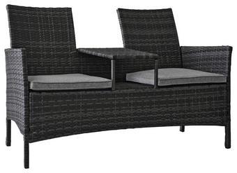 GARTENBANK  Kunststoffgeflecht Stahl - Grau, Design, Kunststoff/Textil (142/89/61,5cm) - Ambia Garden
