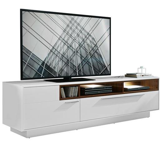 TV-ELEMENT Weiß, Eichefarben  - Chromfarben/Eichefarben, Design, Metall (215/57/52cm) - Hom`in
