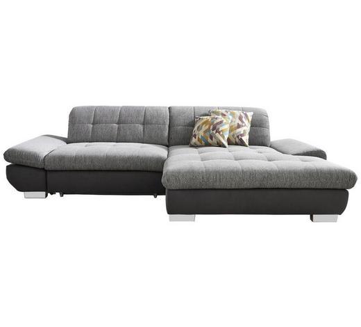 WOHNLANDSCHAFT Anthrazit, Grau Flachgewebe  - Chromfarben/Anthrazit, Design, Textil (290/198cm) - Xora