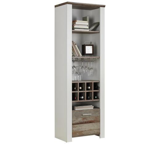 REGÁL, hnědá, bílá - bílá/barvy chromu, Trend, kompozitní dřevo/umělá hmota (64/198/39cm) - Carryhome