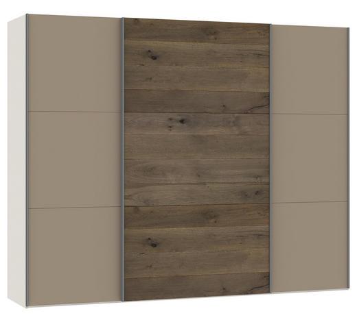 SCHWEBETÜRENSCHRANK in furniert Eiche Creme, Eichefarben, Hellbraun - Hellbraun/Eichefarben, Design, Glas/Holz (278/220/65cm) - Jutzler
