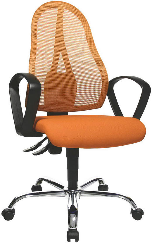 DREHSTUHL Chromfarben, Orange, Schwarz - Chromfarben/Schwarz, Basics, Kunststoff/Textil (48/103-111/48cm) - NOVEL