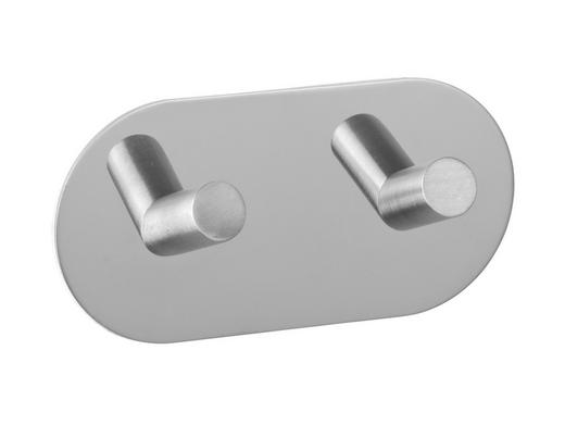 HAKENLEISTE Edelstahlfarben - Edelstahlfarben, MODERN, Metall (10/5/2.8cm)