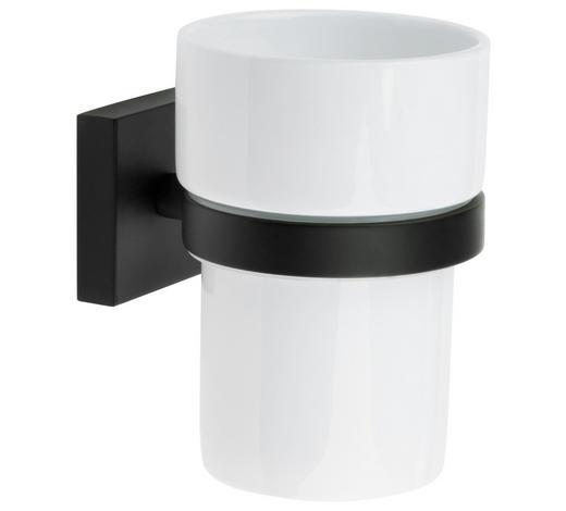 ZAHNPUTZBECHER Metall, Keramik - Schwarz/Weiß, Basics, Keramik/Metall (7,5/9,8/9,3cm)