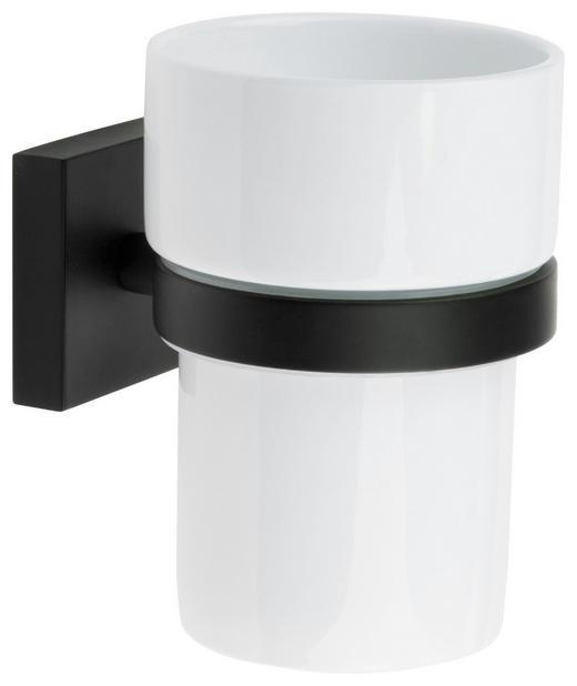 ZAHNPUTZBECHER - Schwarz/Weiß, Design, Keramik/Metall (7,5/9,8/9,3cm)