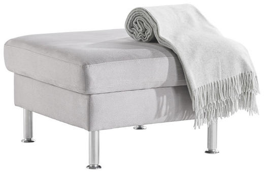 HOCKER in Textil Hellgrau - Hellgrau/Alufarben, Design, Textil/Metall (70/45/70cm) - Pure Home Lifestyle
