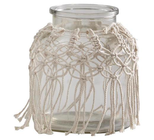 WINDLICHT  - Beige, Glas/Textil (14,5/16cm)