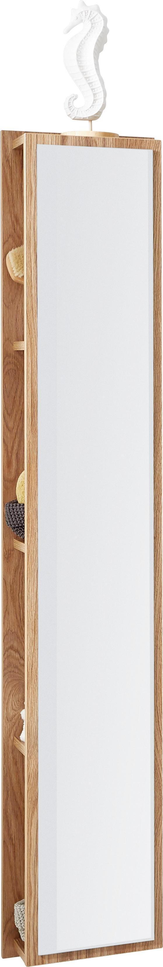 BADEZIMMERREGAL Eichefarben, Design, Glas/Holzwerkstoff (30/160/15cm)