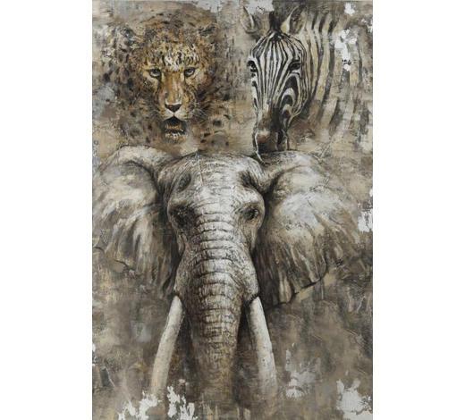 Tiere ÖLGEMÄLDE  - Multicolor, LIFESTYLE, Holz/Textil (80/120cm) - Monee
