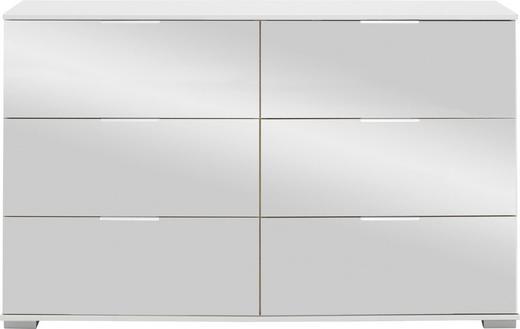 KOMMODE 130 83 41 cm - Alufarben/Weiß, Design, Glas/Holzwerkstoff (130 83 41cm) - Carryhome