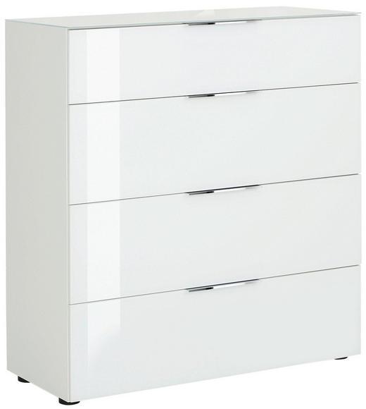KOMMODE Weiß - Chromfarben/Schwarz, Basics, Glas/Kunststoff (91/100/40cm)