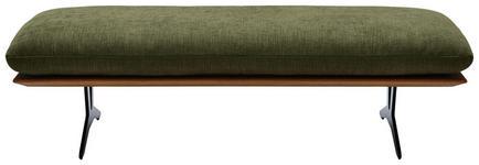 HOCKERBANK Webstoff Wildeiche massiv Eichefarben, Grün - Eichefarben/Schwarz, Design, Holz/Textil (150/43/60cm) - Dieter Knoll