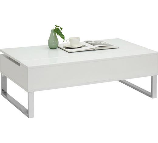 KLUB STOLIĆ - bijela/boje srebra, Design, staklo/drvni materijal (110/60/36,5-62,5cm) - Xora