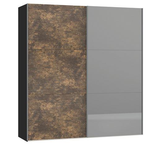SCHWEBETÜRENSCHRANK in Schwarz, Bronzefarben - Silberfarben/Schwarz, Design, Glas/Holzwerkstoff (202,5/220/65cm) - Jutzler