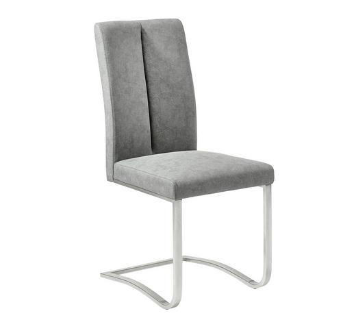 HOUPACÍ ŽIDLE, šedá, barvy nerez oceli - šedá/barvy nerez oceli, Design, kov/textil (43,5/95/62cm) - Xora