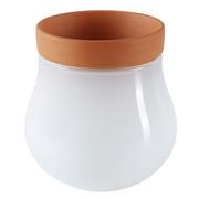 PFLANZTOPF - Terra cotta/Weiß, KONVENTIONELL, Glas/Keramik (9,80/10,20/9,80cm) - Leonardo