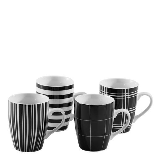 KAFFEEBECHERSET 4-teilig Keramik Porzellan Schwarz - Schwarz, Basics, Keramik (0,3l) - Homeware