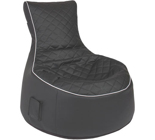 SITZSACK Lederlook, Flachgewebe  - Schwarz/Weiß, Design, Textil (80/80/75cm) - Carryhome