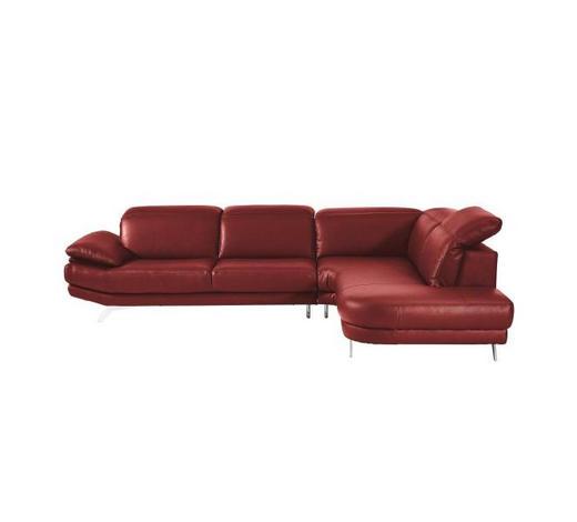 Ecksofa Rot Echtleder - Chromfarben/Rot, Design, Leder/Metall (296/233cm) - Celina Home