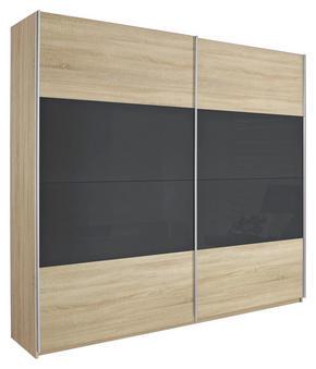 SKJUTDÖRRSGARDEROB - mörkgrå/Sonoma ek, Design, metall/glas (271/210/62cm) - Carryhome