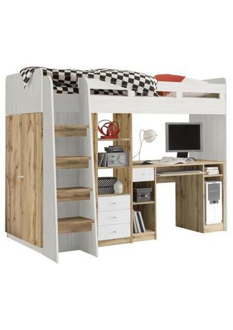 VYSOKÁ POSTEL, 90/200 cm,  - bílá/barvy dubu, Konvenční, kompozitní dřevo (90/200cm) - Carryhome